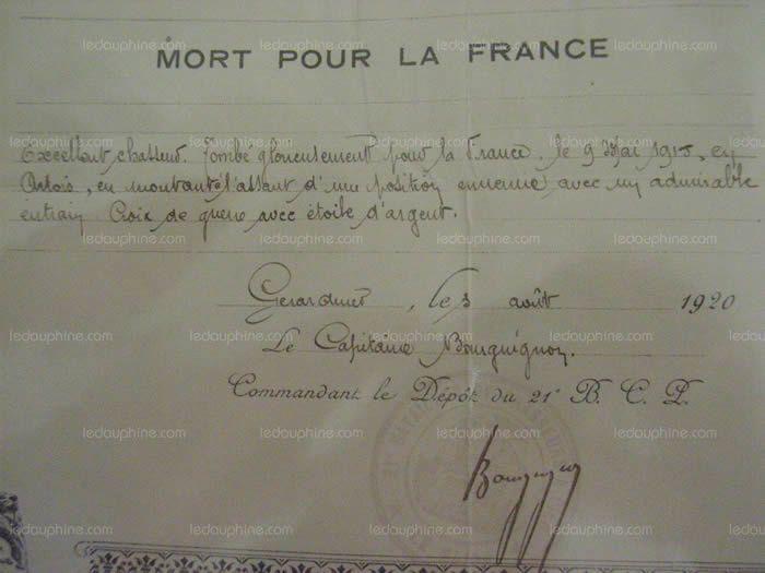 Extrait de la citation de Philippe Martin, lui conférant la Croix de guerre avec étoile d'argent. Archives photo DR