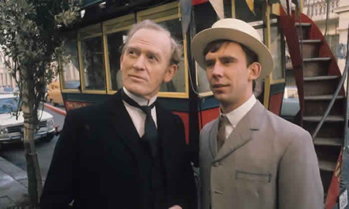 Christopher Beeny as the footman Edward Barnes, with Gordon Jackson, left, in Upstairs Downstairs, 1972. Photograph: ITV/Rex/Shutterstock