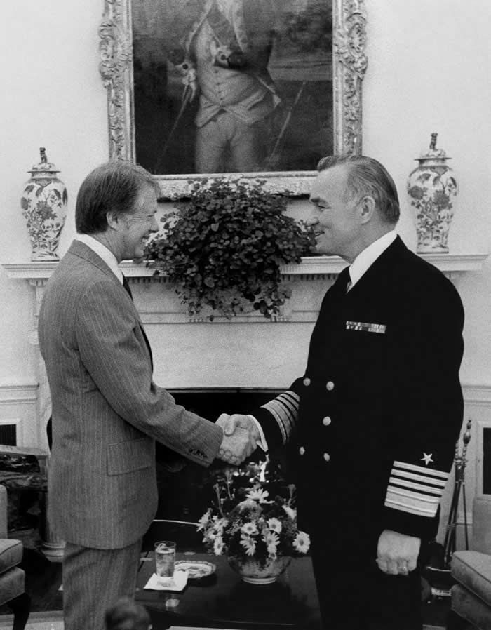 President Jimmy Carter with Admiral Turner in the Oval Office in 1977 on his being named director of central intelligence, succeeding George Bush.Credit...Official White House photograph