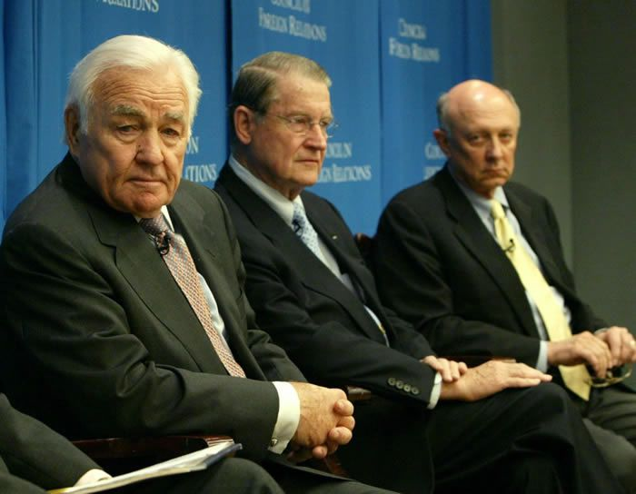 Former CIA directors Stansfield Turner, left, William Webster and James Woolsey speak during a forum at the Council on Foreign Relations in 2004. (Gregory Bull/AP)