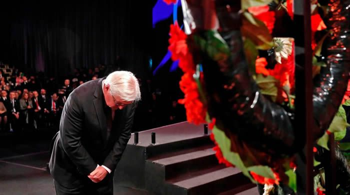 Le président allemand Frank-Walter Steinmeier s'est recueilli à Yad Vashem. AFP-Pool/RONEN ZVULUN