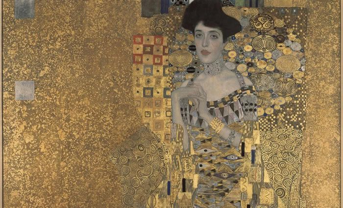 Painting which inspired the 2015 movie 'Woman in Gold,' based on the true story of Maria Altmann and Randy Schoenberg. Gustav Klimt, 'Adele Bloch-Bauer I', 1907. Courtesy Wikimedia Commons.