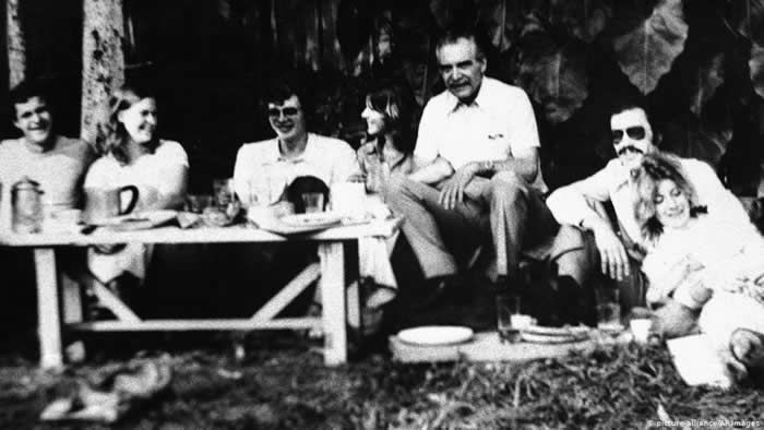 The man believed to be Nazi war criminal Josef Mengele, third from right, during a picnic with friends in Sao Paulo, Brazil