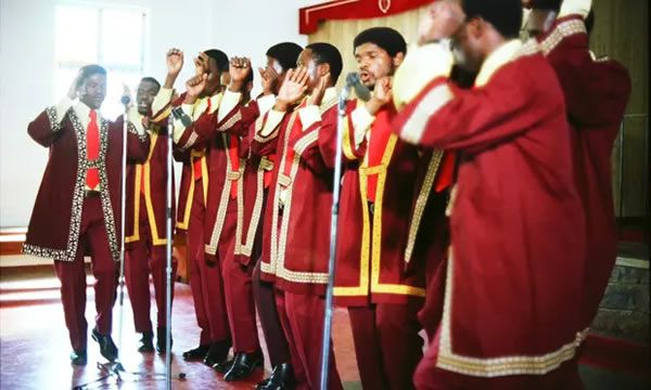 Ladysmith Black Mambazo in a Durban township church during the Rhythm of Resistance shoot in 1979. Photograph: Jeremy Marre
