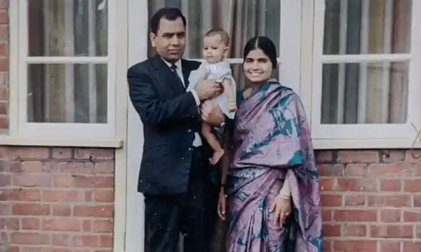 Muhammad Siddique with his wife, Saeeda, and daughter, Anjum, in 1970. After Saeeda died in 1981, Muhammad raised both his children alone, never remarrying Photograph: None