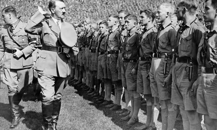 Adolf Hitler and Nazi youth leader Baldur von Schirach inspect Hitler youth at the Nuremberg rally in 1934. Photograph: Ullstein bild Dtl./Getty Images