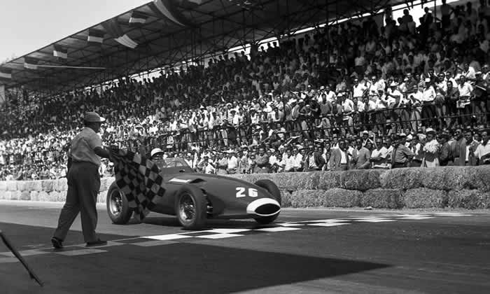 Stirling Moss taking part in the Pescara Grand Prix in a British Vanwall car, 1957. Photograph: Bernard Cahier/Getty Images