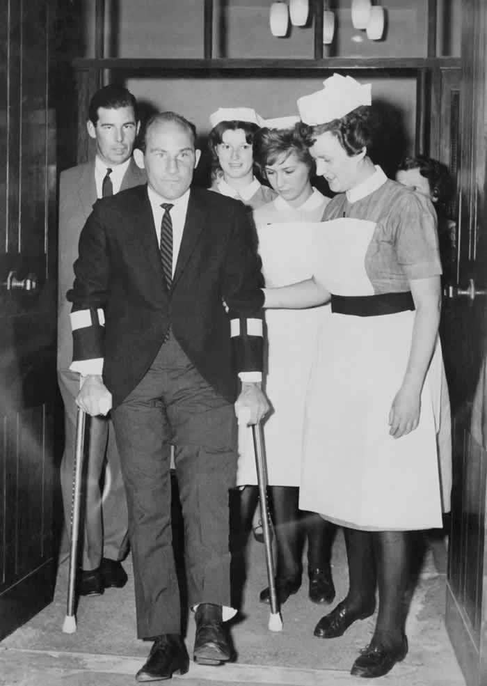 Stirling Moss leaving hospital in Wimbledon, south-west London, after the crash at Goodwood in April 1962 that brought an end to his racing career. Photograph: AFP via Getty Images