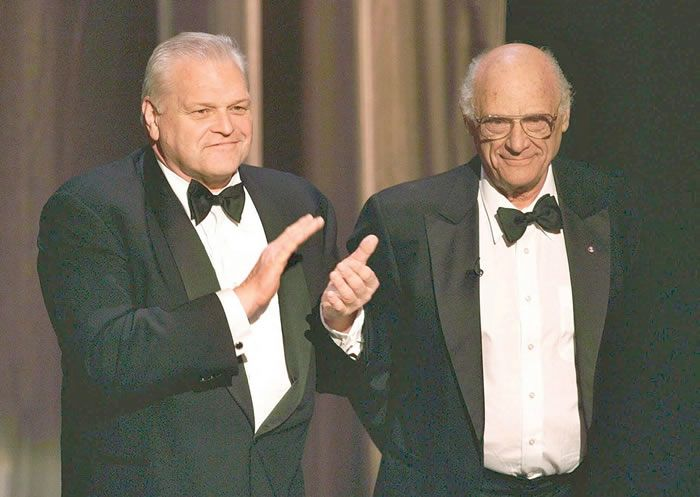 Actor Brian Dennehy, left, with playwright, Arthur Miller, at the 1999 Tony Awards in New York. THE ASSOCIATED PRESS