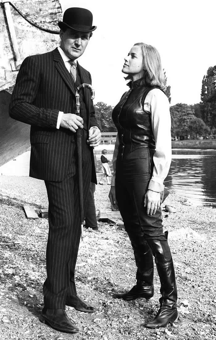 Honor Blackman and Patrick Macnee on the set of The Avengers. Photograph: Terry O'Neill/Rex Features