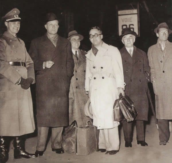From left, Gerhard Heller, Pierre Drieu La Rochelle, Georg Rabuse, Robert Brasillach, Abel Bonnard and André Fraigneau, after attending a meeting of European writers in November 1941 that intended to make French writers and journalists instruments of Nazi culture and ideology propaganda.Credit...Private collection/IMEC 3417