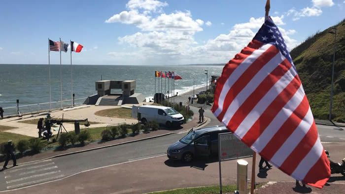 La cérémonie internationale pour commémorer le 76e anniversaire du Débarquement de Normandie a eu lieu à huis clos, ce 6 juin 2020. / © Sylvain Rouil / France Télévisions