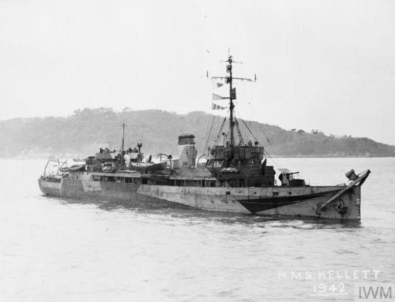 Le HMS Kellett photographié en 1942. C'est à bord de ce navire que le soldat français Langlart quitta Dunkerque depuis la jetée Est, le 2 juin 1940. / IWM A 30863