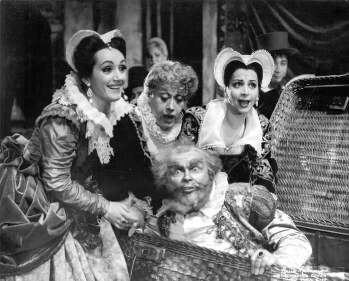 "Ms. Elias, far right, as Meg in a 1964 Met production of Verdi's ""Falstaff."" Also in the cast were, from left, Gabriella Tucci as Alice, Regina Resnik as Mistress Quickly and Anselmo Colzani as Falstaff.Credit...Louis Melancon/Metropolitan Opera"
