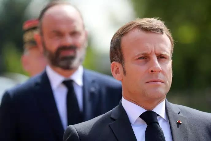 Le président de la République, Emmanuel Macron, et le premier ministre, Edouard Philippe, au Mont-Valérien, le 18 juin. LUDOVIC MARIN / AFP