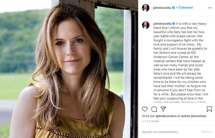 John Travolta a rendu hommage à sa femme dans un long post sur Instagram, auquel ont répondu des personnalités américaines comme Mariah Carey ou Meghan Trainor. Capture Instagram John Travolta