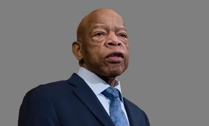 ASSOCIATED PRESS John Lewis headshot, as US Representative of Georgia, graphic element on gray