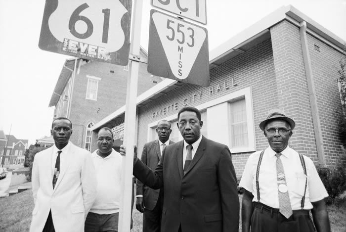 Mr. Evers, second from right, with members of his administration in 1969, the year he was elected mayor of Fayette, Miss. He was the first African-American in a century to hold that post.Credit...Bettmann, via Getty Images