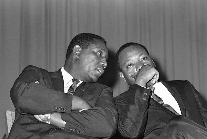 Mr. Evers with the Rev. Dr. Martin Luther King Jr. in 1968.Credit...Jack Thornell/Associated Press