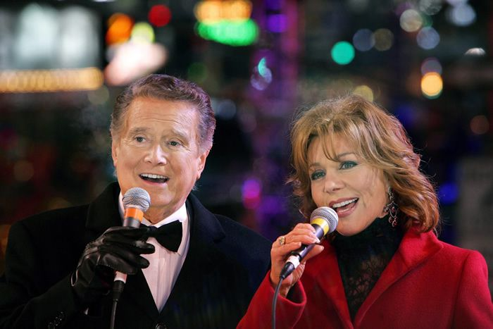 Mr. Philbin and his wife, Joy, hosting a New Year's Eve special in 2005.Credit...Peter Foley/European Pressphoto Agency