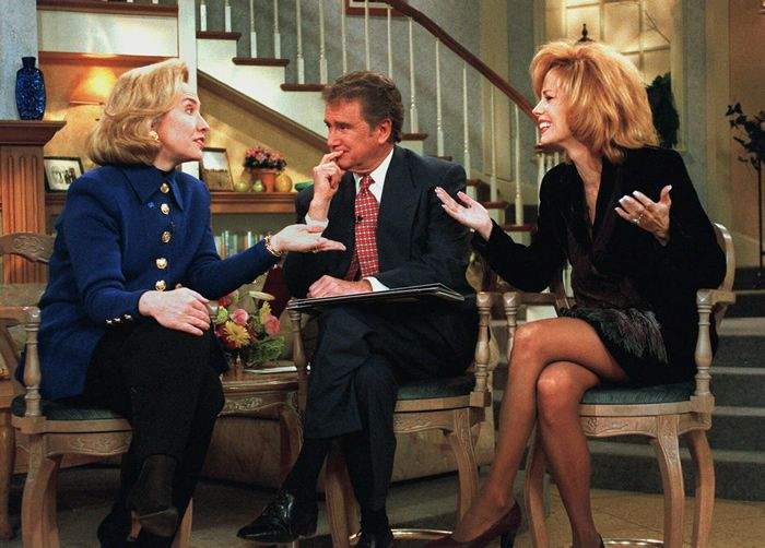 """Mr. Philbin and Kathie Lee Gifford interviewed Hillary Clinton in 1996, when she was the first lady. """"Live! With Regis and Kathie Lee"""" was a fixture of morning television from 1988 to 2000.Credit...Steve Friedman/Buena Vista Television, via Associated Press"""