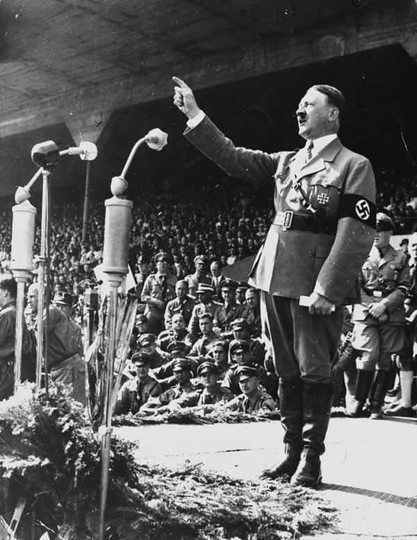 Hitler addresses his followers, May, 1937.Credit...Associated Press
