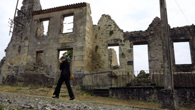 The ruins of the village of Oradour-sur-Glane are preserved as a memorial site