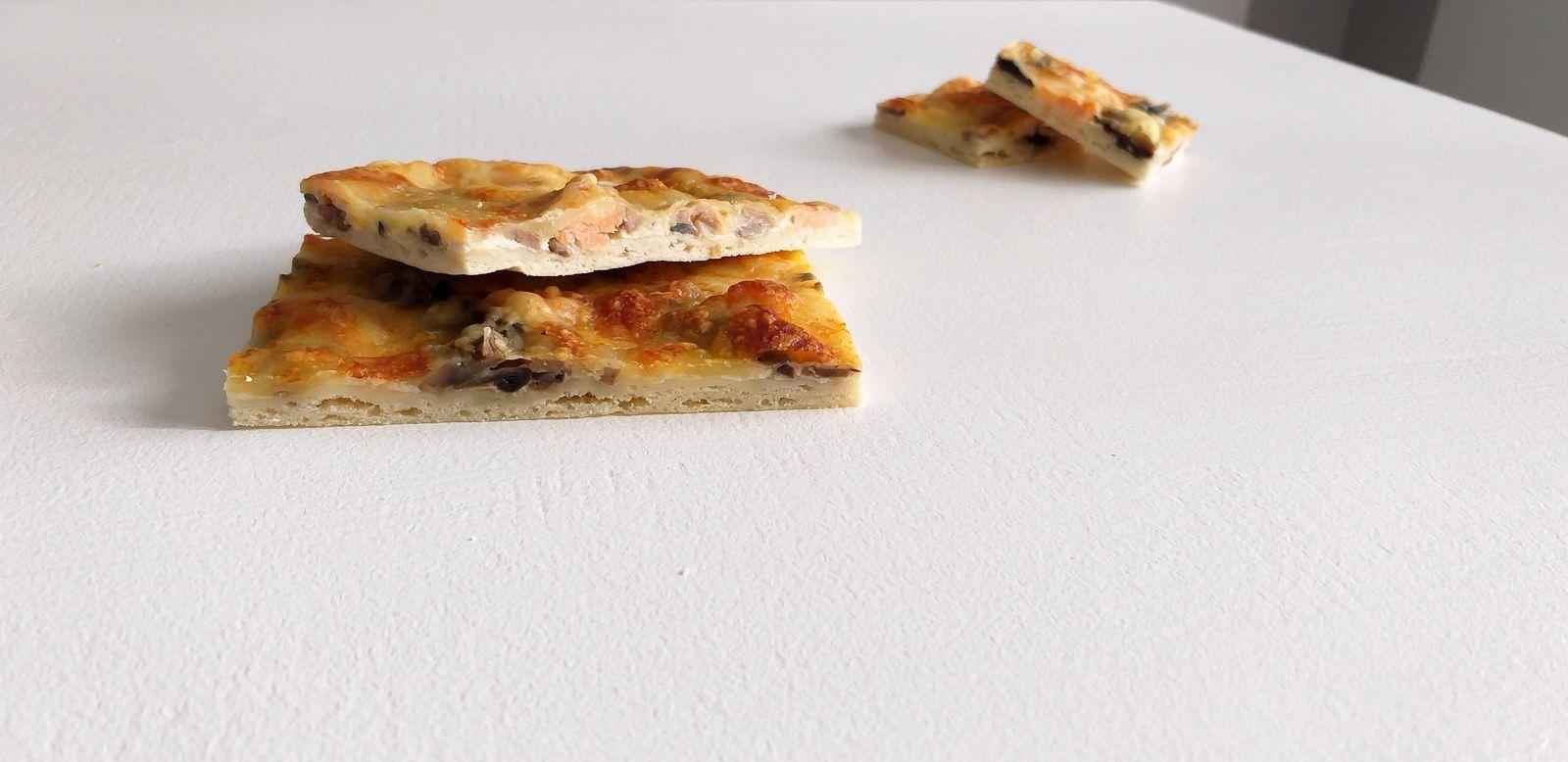 Pizza saumon, champignons et mozzarella