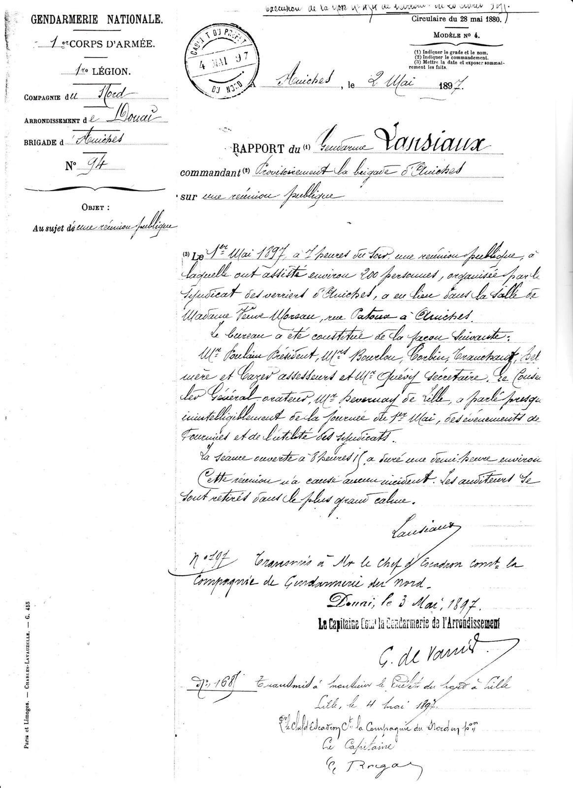 Le 2 mai 1897 - Rapport du gendarme LANSIAUX