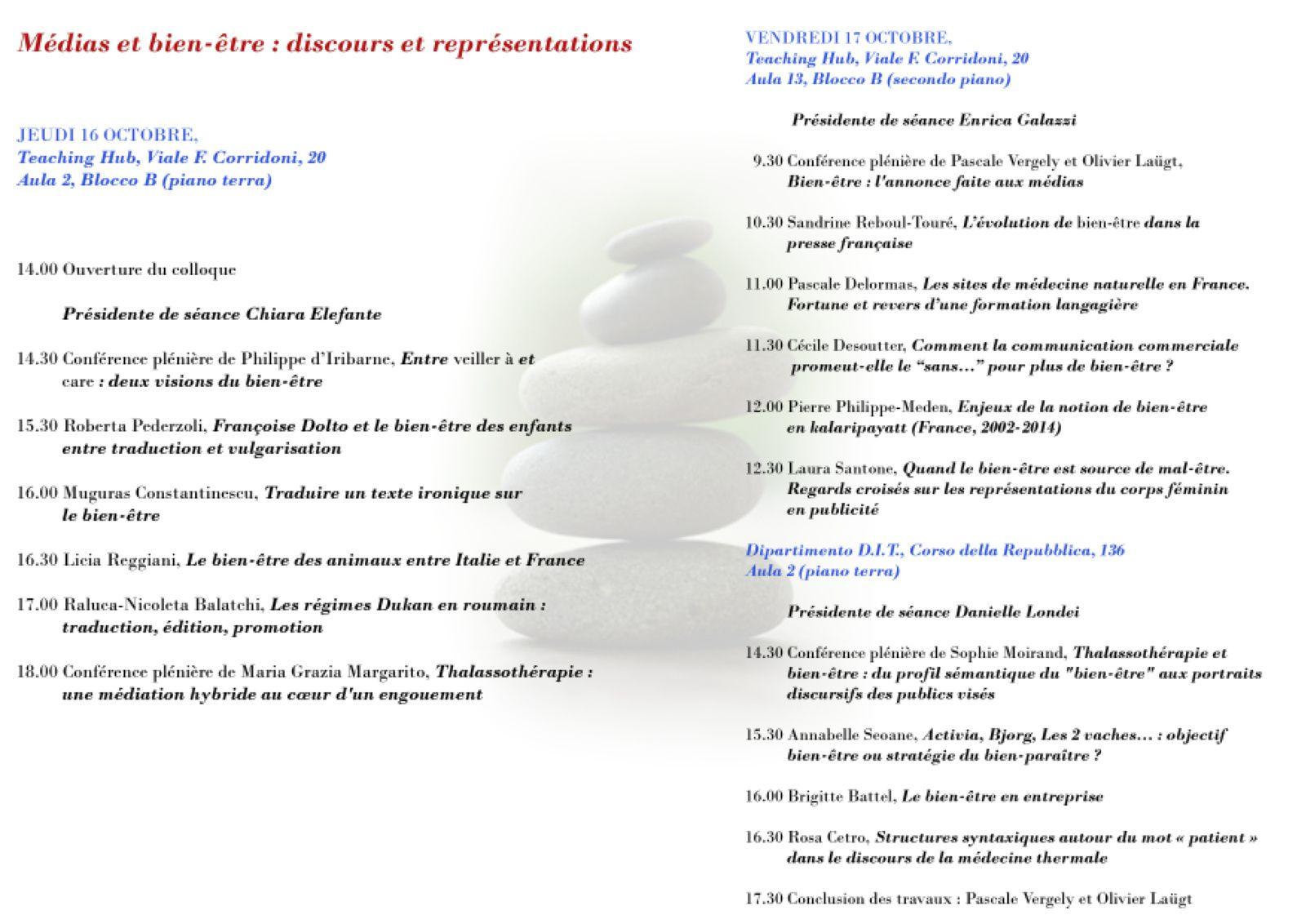 Médias et bien-être : discours et représentations (colloque international)