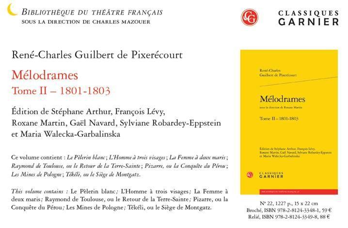 2e tome des Mélodrames de Pixerécourt