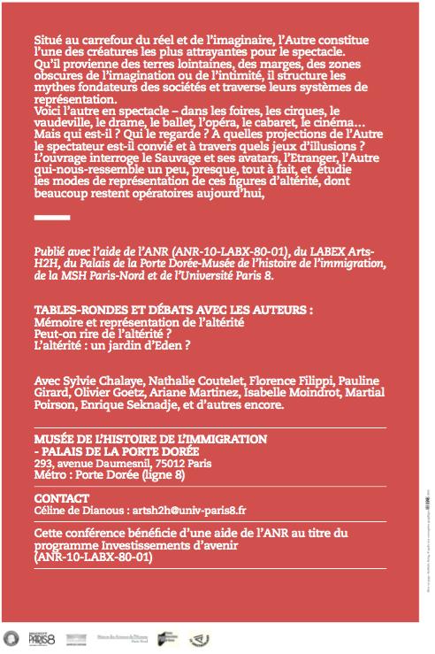 L'Altérité en spectacle. Présentation de l'ouvrage 09/06/15