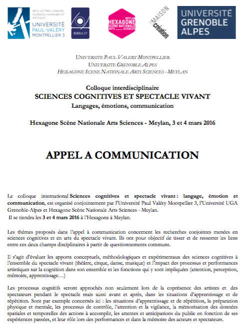 Sciences cognitives et spectacle vivant (2016)