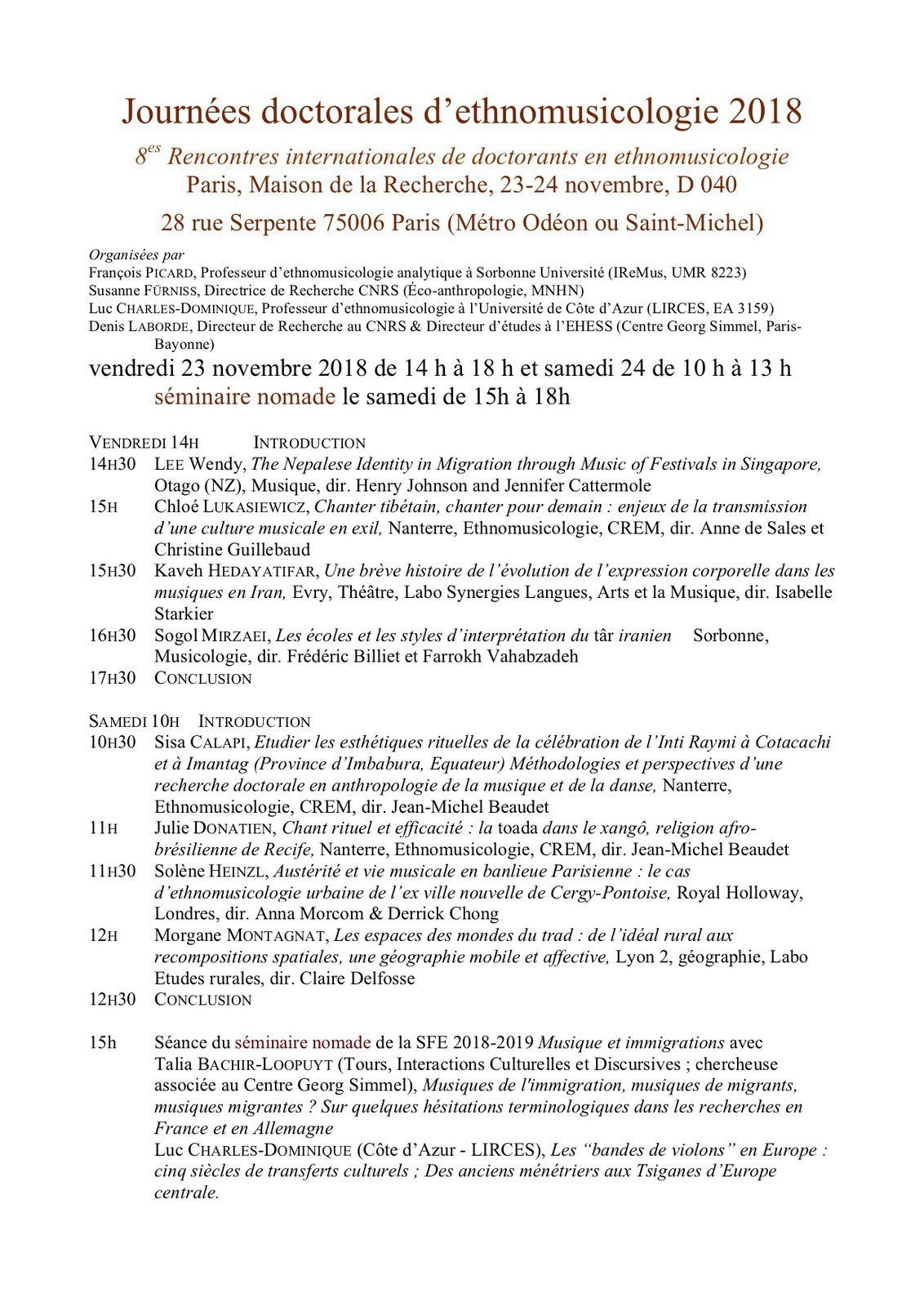 8es Rencontres internationales de doctorants en ethnomusicologie Paris, Maison de la Recherche