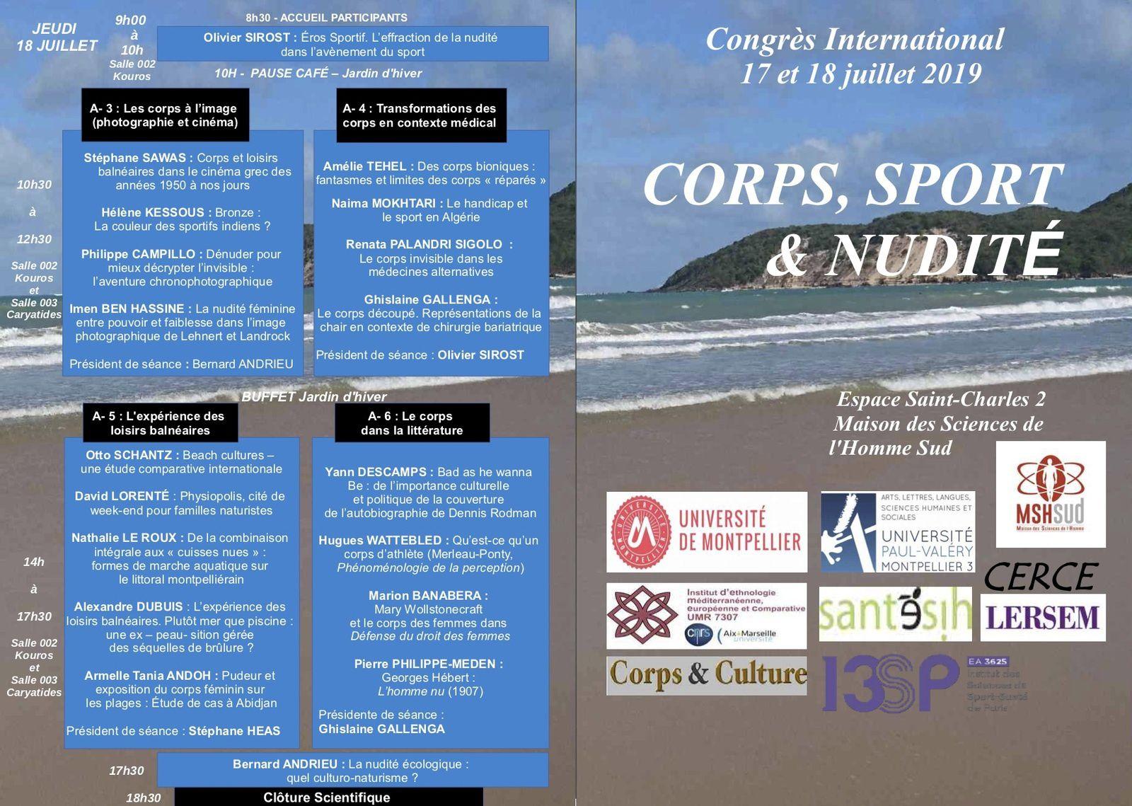 """Trouvez en pièce jointe le programme du Congrès """"Corps, Sport & Nudité"""" qui aura lieu les 17 et 18 juillet 2019 à la MSH Sud de Montpellier."""