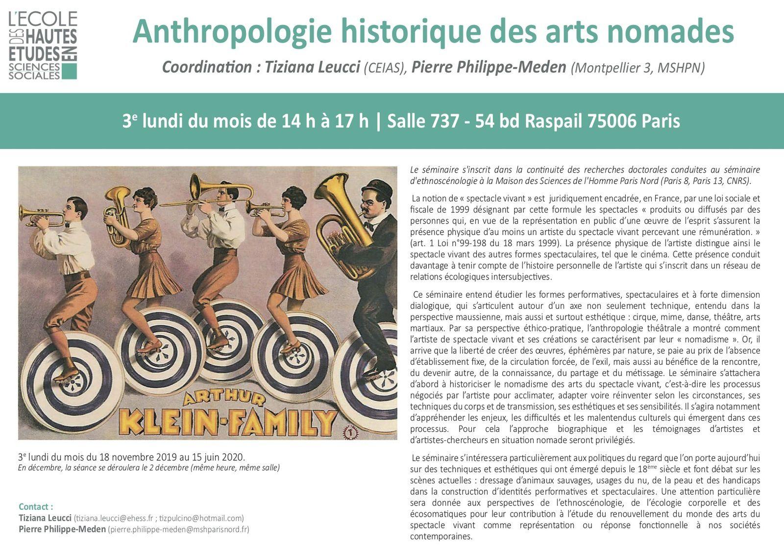 Anthropologie historique des arts nomades (séminaire d'ethnoscénologie)