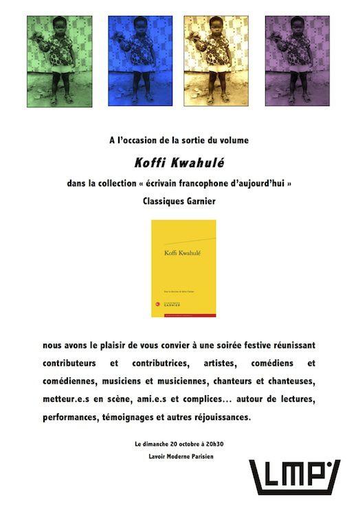 Invitation soirée Fratrie Kwahulé à l'occasion de la sortie du volume aux Classiques Garnier