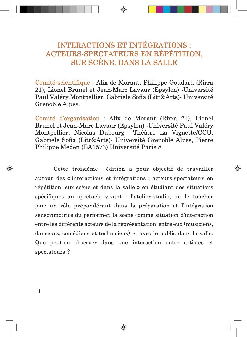 Sciences Cognitives et Spectacle Vivant 3e Colloque International 24-25 Octobre 2019