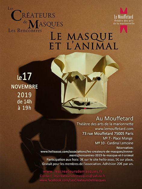 """Les Créateurs de Masques : """"le masque et l'animal"""" - Théâtre des arts de la marionnette 17 nov."""
