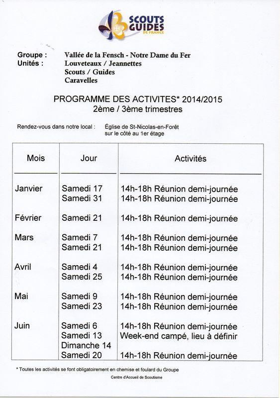 Programme des activités Scouts et Guides