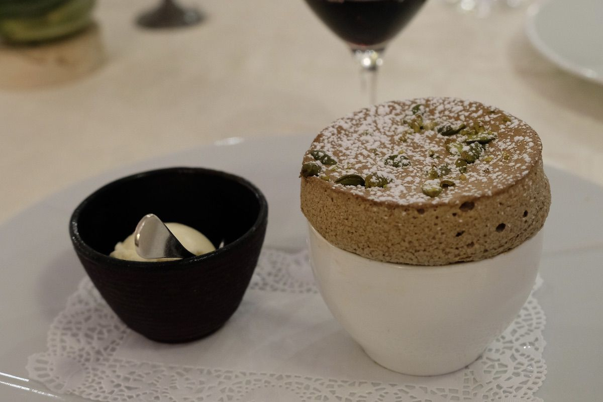 Chaud-froid de soufflé au chocolat, glace vanille