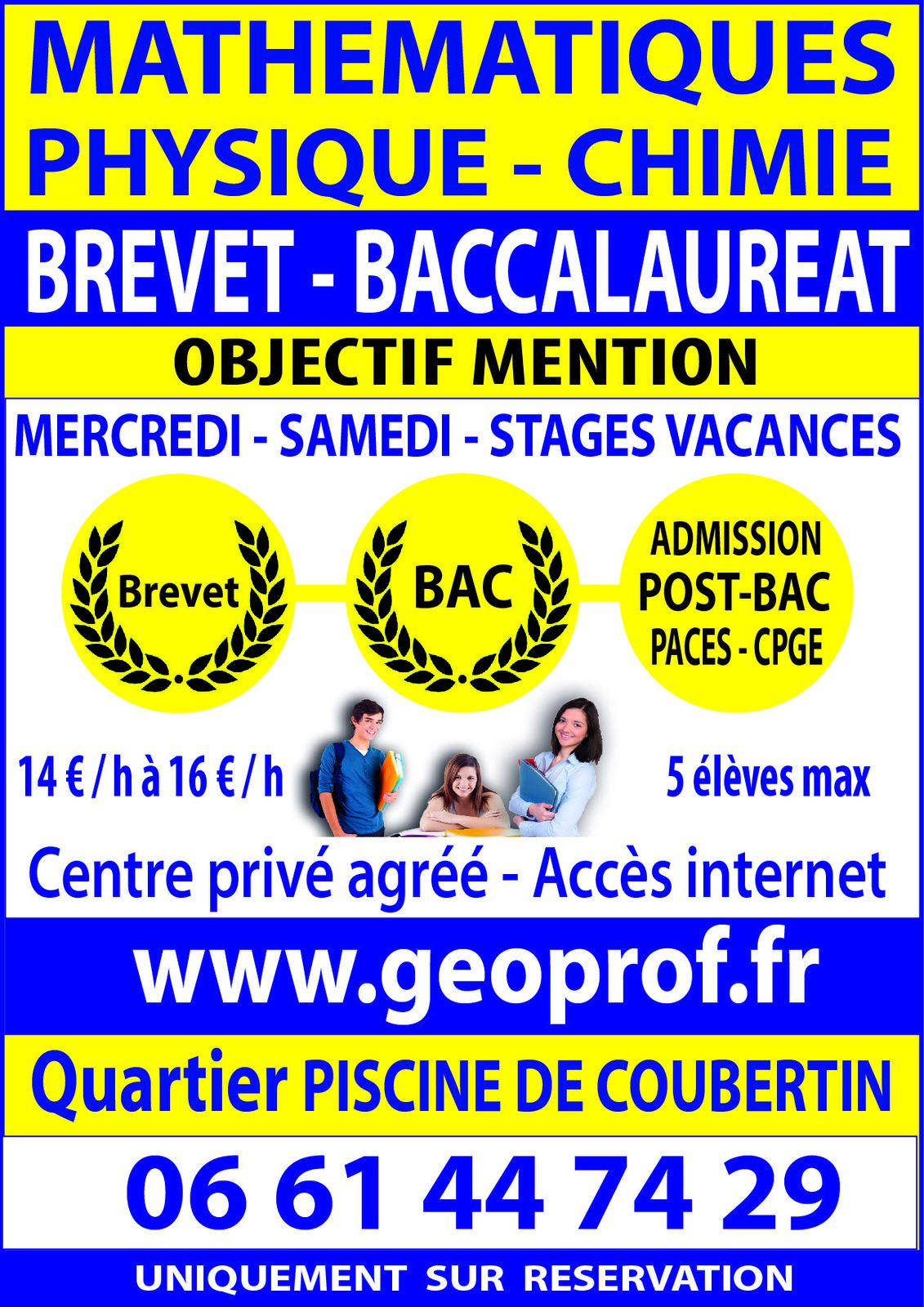 G oprof soutien scolaire et coaching sportif for Piscine coubertin clermont