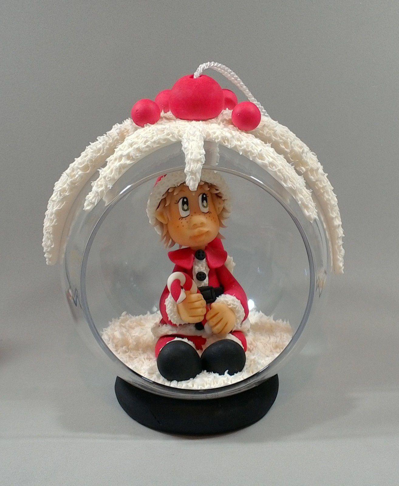 """Kit de modelage """"Boule de Noël avec bébé"""" en porcelaine froide"""