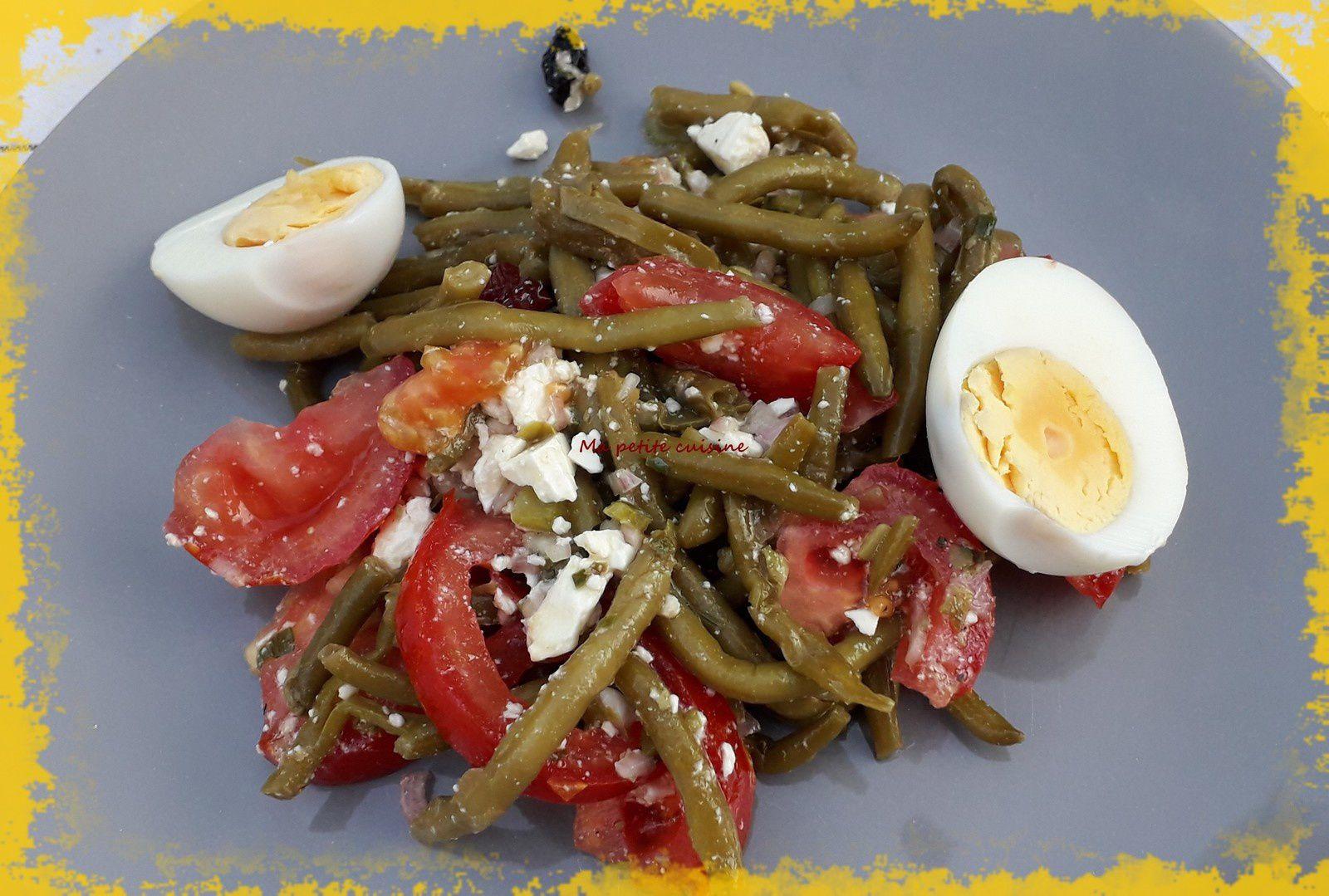 Salade de haricots verts vinaigrette à l'échalotte, capres et cornichons