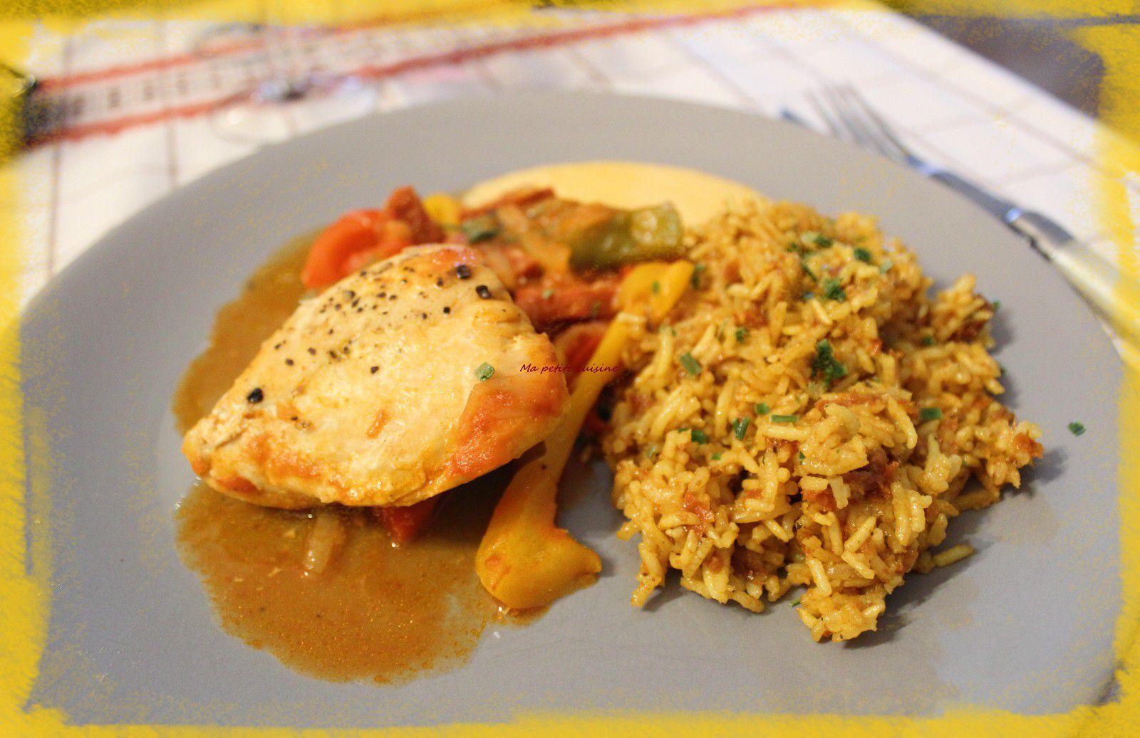 Poulet basquaise, riz cuisiné et crème de chorizo, recette de Cyril Lignac