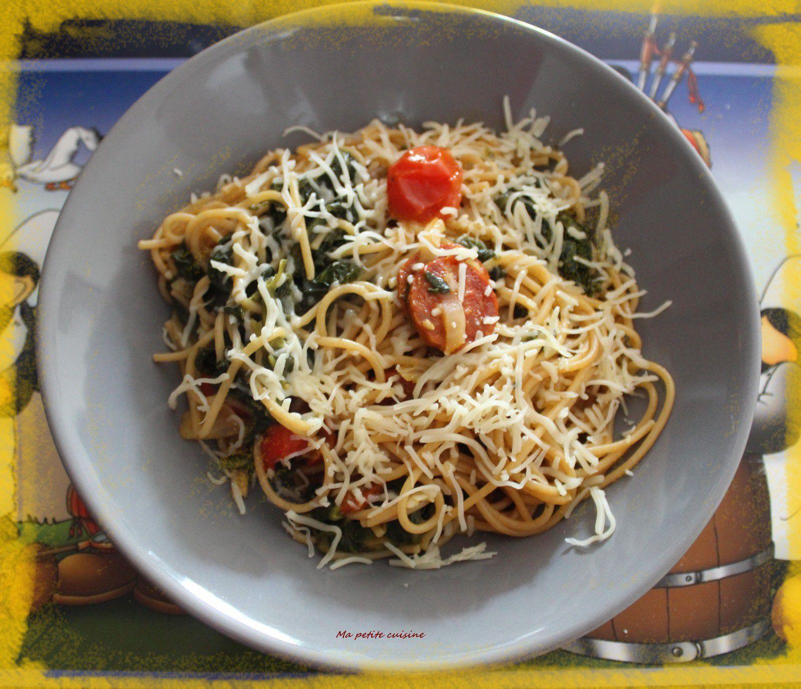 One pot spaghettis épinard, tomate, chorizo