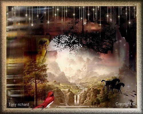Création Copyright par Tony richard pour le poème Rêverie entre rêve et réalité. Tous droits réservés