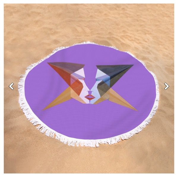 "Round Beach Towel ""Face of Amoureux""."