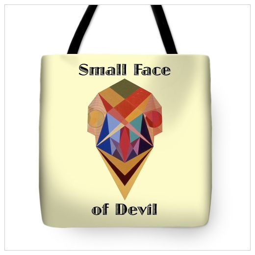 Art Panoply - Small Face of Devil Text Tote Bag