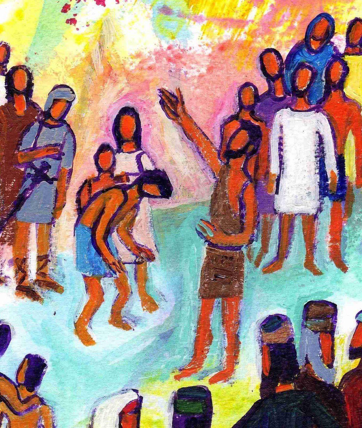 Moi, je vous ai baptisés dans l'eau ; lui vous baptisera dans l'Esprit Saint